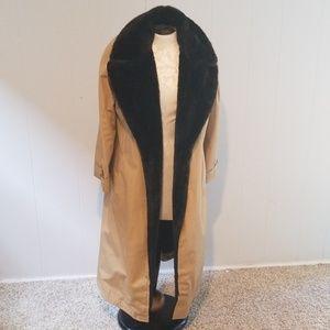 Womens fur 70's trench coat